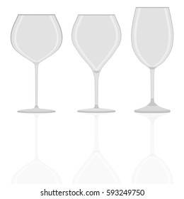 Abstract vector illustration of logo for transparent empty wineglass. Wineglass pattern consisting of set beautiful wine glass, icon liquid champagne vine. Drink fresh wines in wineglasses for health.