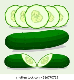 Abstract vector illustration logo for whole ripe green vegetable cucumber, round slice meal. Cucumber pattern consisting of label vegetables, long raw food, sweet seed. Eat fresh cucumbers on health.