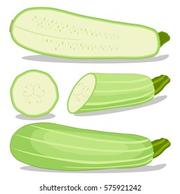 Abstract vector illustration logo for whole ripe vegetable squash zucchini, green stem,cut sliced close-up background.Zucchini pattern consisting of label fruit,icon squashes ripe.Eat fresh zucchinis.