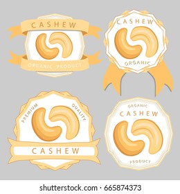 Abstract vector illustration logo whole ripe brown cashew nut, cut sliced, product hazel background. Nut Cashew drawing consisting of tag label, food peeled half nutlet, nutshell. Eating cashews nuts.