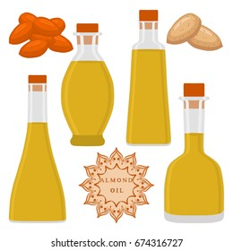 Abstract vector illustration logo whole bottle,ripe brown almond nut, cut sliced, oil hazel. Nut Almond pattern of oil label, food peeled half nutlet, nutshell. Cooking on oily almonds nuts in bottles