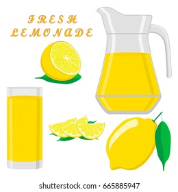 Abstract vector illustration logo yellow jug, liquid lemonade,lemon background. Jug pattern consisting of glass pitcher filled waters lemonades,natural product.Lemonade,drink fresh raw liquid of jugs.