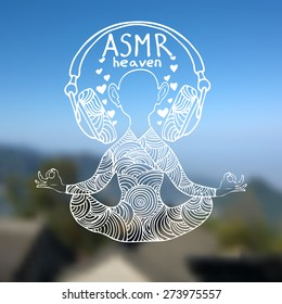 Abstract vector illustration of a man with headphones in zentangle style. Blurred background with sky and mountains. White outline. ASMR heaven logo. Can be used as CD cover, print etc.
