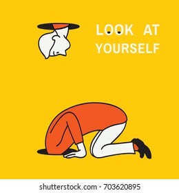 Abstract vector illustration of man kneel down and looking at a hole to look after something but find himself to look at his own body, concept of look at yourself. Hand drawn sketching, linear, style.