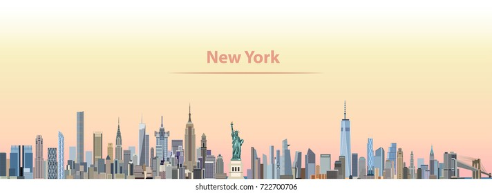 abstract vector illustration of New York city skyline at sunrise