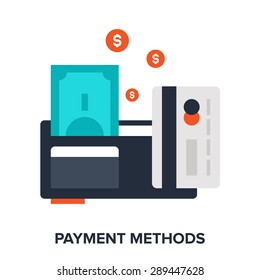 Abstract vector illustration of payment methods flat design concept.