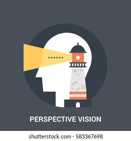 Abstract vector illustration of perspective vision icon concept