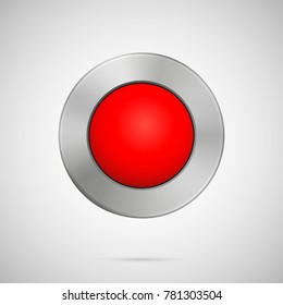 Abstract vector illustration polygon, medal, blank metal red sphere button template, realistic metallic icon for user interfaces, application. Chrome, silver, steel, iron, aluminum texture.