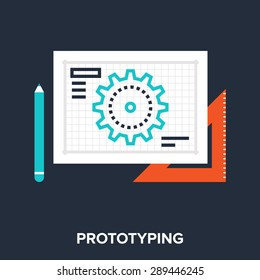 Abstract vector illustration of prototyping flat design concept.