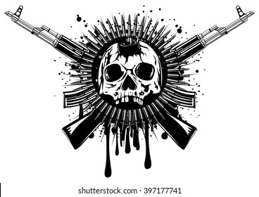 Abstract vector illustration punched skull with crossed machine gun and ammunition