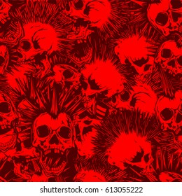 Abstract vector illustration red and bordeaux punk skulls with mohawk hair seamless background. Design for print on fabric or t-shirt.