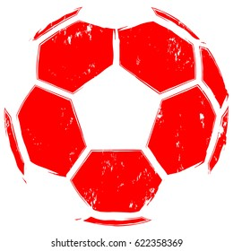 Abstract vector illustration red football ball. Design for print on fabric or t-shirt.