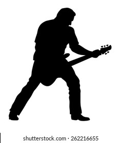 Abstract vector illustration of rock guitarist silhouette