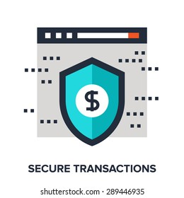 Abstract vector illustration of secure transactions flat design concept.