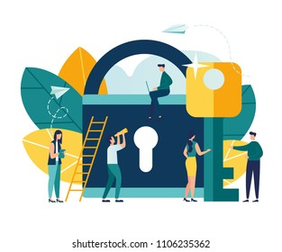 Abstract vector illustration of security icon, closed lock with key, concept of data protection