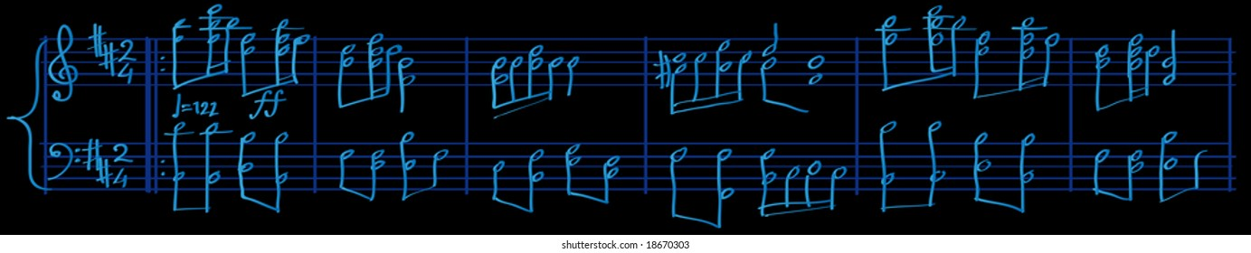 Abstract vector illustration of sheetmusic composer style