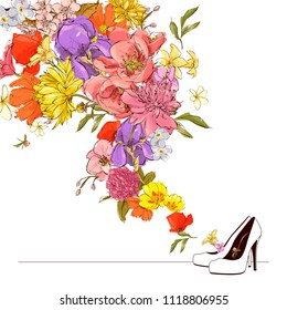Abstract vector illustration of shoes and flowers.