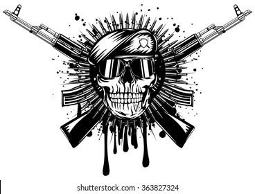 Abstract vector illustration skull in beret crossed assault rifle on grunge splash