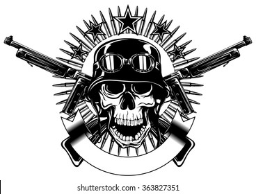 Abstract vector illustration skull in helmet with goggles and crossed machine gun