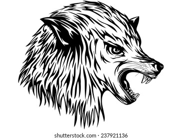 Abstract vector illustration snarling wolf