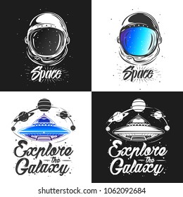 Abstract vector illustration with spaceship surrounded by planets. Space travel and universe exploring concept. UFO, aliens, conspiracy theory tattoo, t-shirt, poster. Astronaut / Spaceman suit art.