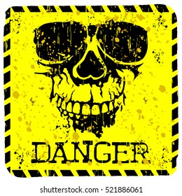 Abstract vector illustration square grunge skull with lettering danger