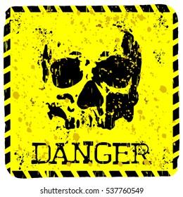 Abstract vector illustration square grunge symbol skull with lettering danger