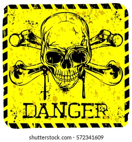 Abstract vector illustration square grunge symbol skull and crossed bones with lettering danger