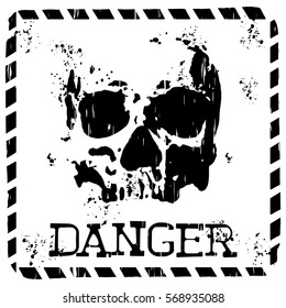 Abstract vector illustration square symbol skull with lettering danger