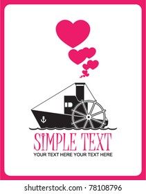 Abstract vector illustration with steamship and hearts. Place for your text.