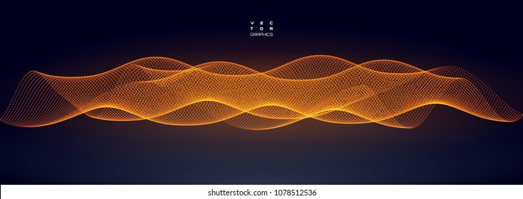 Abstract vector illustration for technological design. Pulsation or vibration wave spreading in space.