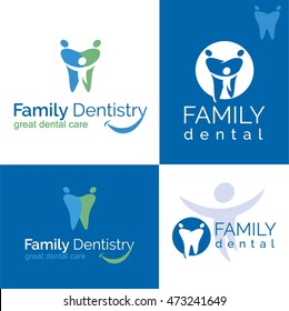Abstract Vector illustration of teeth. Dental logo. Family dental clinic on white and blue backgrounds.