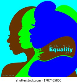 An abstract vector illustration of three African American women in profile view on a teal color isolated background for Women's Equality Day on a brown brushstroke
