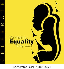 An abstract vector illustration of two African American women in profile view on a yellow isolated background for Women's Equality Day