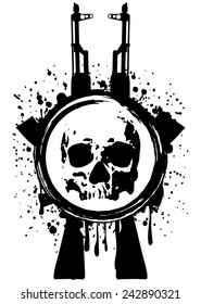 Abstract vector illustration two automatic rifles and skull