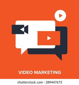 Abstract vector illustration of video marketing flat design concept.