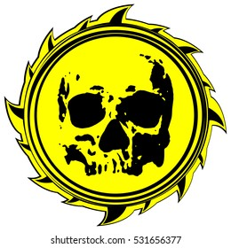 Abstract vector illustration abstract yellow and black sign to skull