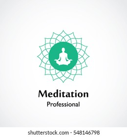 abstract vector illustration of yoga and meditation logo emblem. health care and relaxation concept