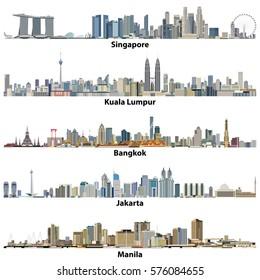 abstract vector illustrations of asian cities(Singapore, Kuala Lumpur, Bangkok, Jakarta and Manila) skylines