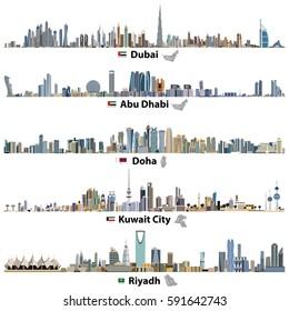Abstrakte Vektorgrafiken von Skylines der Städte Dubai, Abu Dhabi, Doha, Riad und Kuwait mit Flaggen und Karten der Vereinigten Arabischen Emirate, Katars, Kuwait und Saudi-Arabien