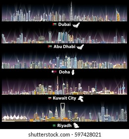 abstract vector illustrations of Dubai, Abu Dhabi, Doha, Riyadh and Kuwait city skylines at night with flags and maps of United Arab Emirates, Qatar, Kuwait and Saudi Arabia