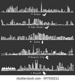 abstract vector illustrations of Dubai, Abu Dhabi, Doha, Riyadh and Kuwait city skylines at night in grey scales color palette with flags and maps of UAE, Qatar, Kuwait and Saudi Arabia