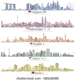 abstract vector illustrations of Singapore, Kuala Lumpur, Bangkok, Jakarta and Manila skylines (with maps and flags of the countries where these cities are capitals) in different color palettes