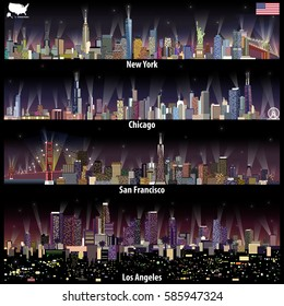 abstract vector illustrations of United States city skylines (New York, Chicago, San Francisco and Los Angeles) at night with map and flag of United States