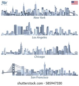 abstract vector illustrations of United States city skylines (New York, Chicago, San Francisco and Los Angeles) in tints of blue color palette with map and flag of United States