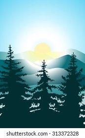 Abstract vector image of a bright sun with a halo over the hills and pine forests in the foreground. Three fir in the foreground, the sun on the tiered mountain range in the background.
