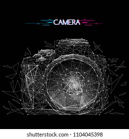 Abstract vector image of camera with distruction effect. Low poly wire frame illustration white on black background. Lines and dots. Photo concept. Polygonal art. Glitch title.