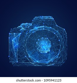 Abstract vector image of camera. Low poly wire frame illustration. Lines and dots. RGB Color mode. Photo concept. Polygonal art.