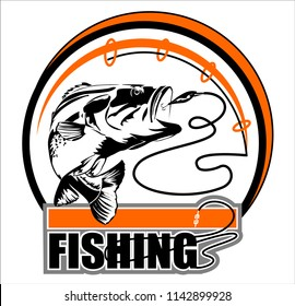 Abstract, vector image of a fish caught on a hook. Fishing label with a fish.Logo, emblem, sticker for companies selling goods for fishing.