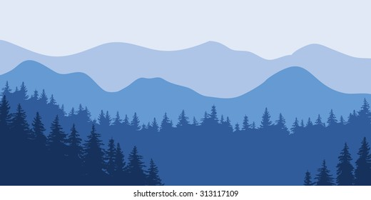 Abstract vector image of the forest of fir trees on the background of blue mountains in thick fog. dense forest in several tiers mountains in the background.